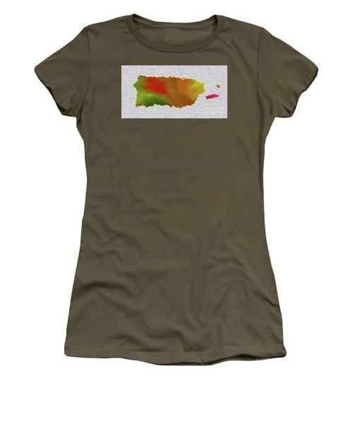Colorful Art Puerto Rico Map Women's T-Shirt (Junior Cut) by Saribelle Rodriguez