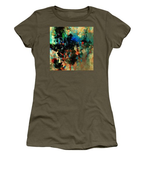 Colorful Landscape / Cityscape Abstract Painting Women's T-Shirt (Junior Cut) by Ayse Deniz