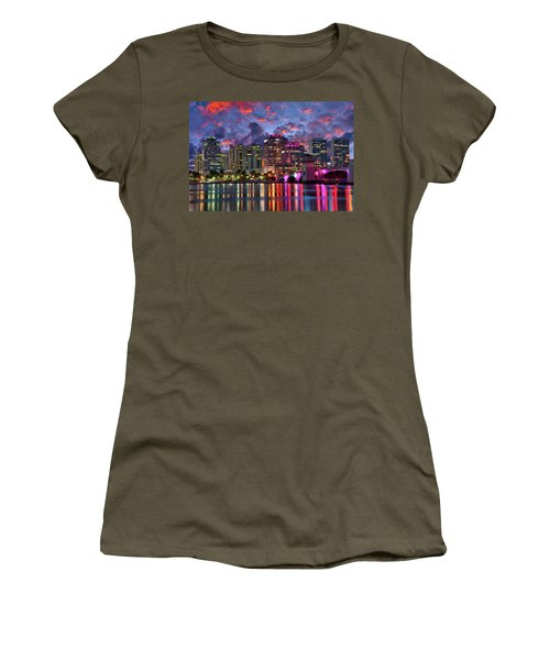 Colorful Sunset Over Downtown West Palm Beach Florida Women's T-Shirt