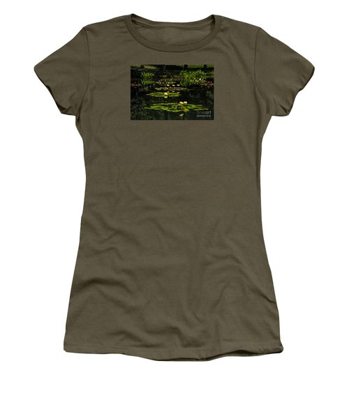 Women's T-Shirt (Junior Cut) featuring the photograph Colorful Waterlily Pond by Barbara Bowen