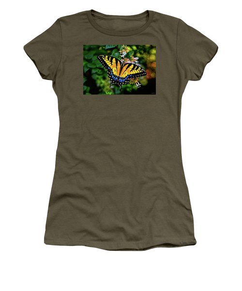 Women's T-Shirt (Junior Cut) featuring the photograph Colors Of Nature - Swallowtail Butterfly 003 by George Bostian