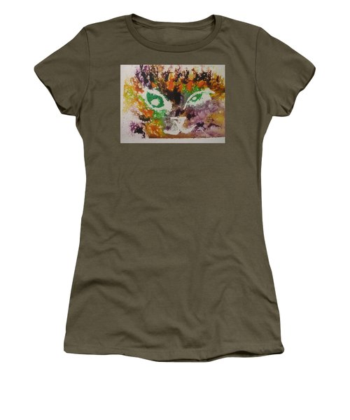 Colourful Cat Face Women's T-Shirt (Junior Cut) by AJ Brown