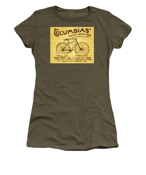 Women's T-Shirt (Junior Cut) featuring the mixed media Columbia Bicycle Vintage Poster On Wood by Dan Sproul