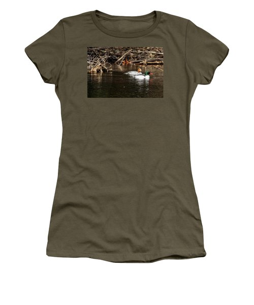 Women's T-Shirt (Athletic Fit) featuring the photograph Common Mergansers by Betty Pauwels