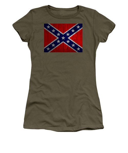 Women's T-Shirt featuring the mixed media Confederate Flag Barn Door by Dan Sproul