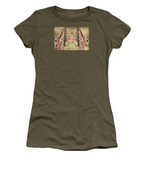 Women's T-Shirt (Junior Cut) featuring the digital art Confederate Flags by Melissa Messick