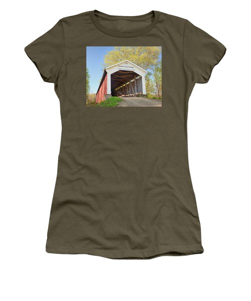 Women's T-Shirt (Junior Cut) featuring the photograph Conley's Ford Covered Bridge by Harold Rau