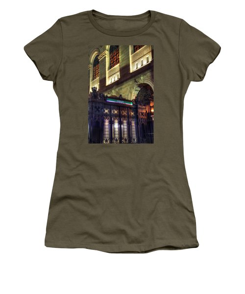 Women's T-Shirt (Junior Cut) featuring the photograph Copley Square T Stop - Boston by Joann Vitali