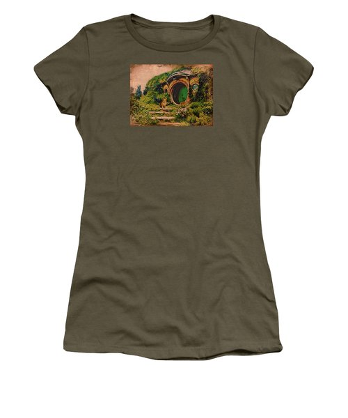 Women's T-Shirt (Junior Cut) featuring the digital art Corgi At Hobbiton by Kathy Kelly
