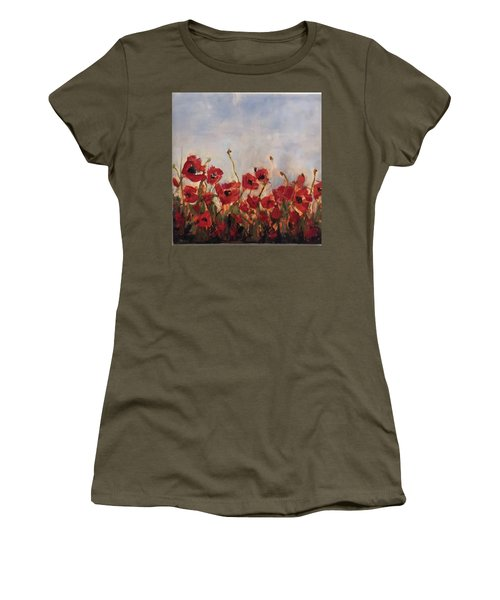 Corn Poppies In Remembrance Women's T-Shirt (Athletic Fit)