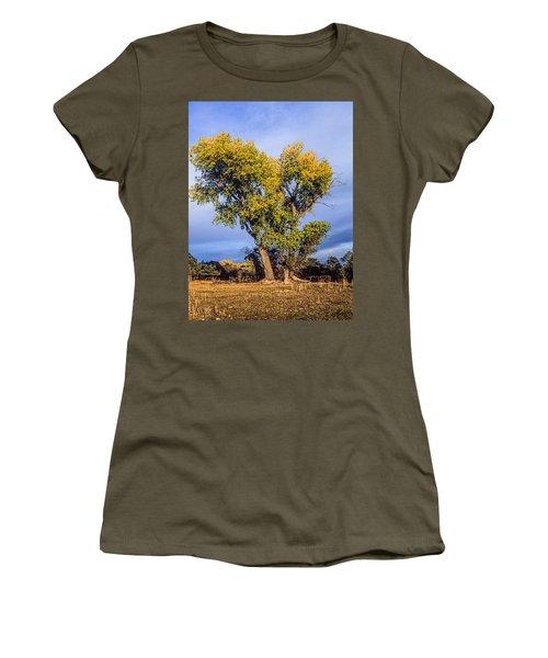 Cottonwood #4 Fall Ranch Colorado Women's T-Shirt (Junior Cut) by John Brink