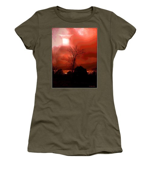 Women's T-Shirt (Junior Cut) featuring the photograph Cottonwood Crimson Sunset by Joyce Dickens