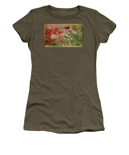 Country Home With Cottage Women's T-Shirt (Athletic Fit)