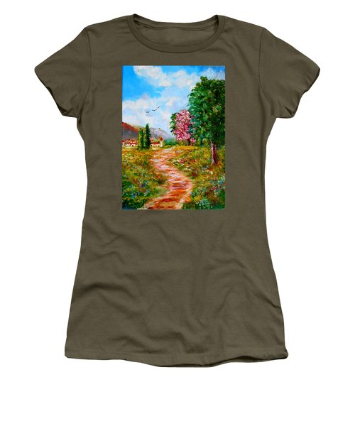 Country Pathway In Greece Women's T-Shirt (Athletic Fit)