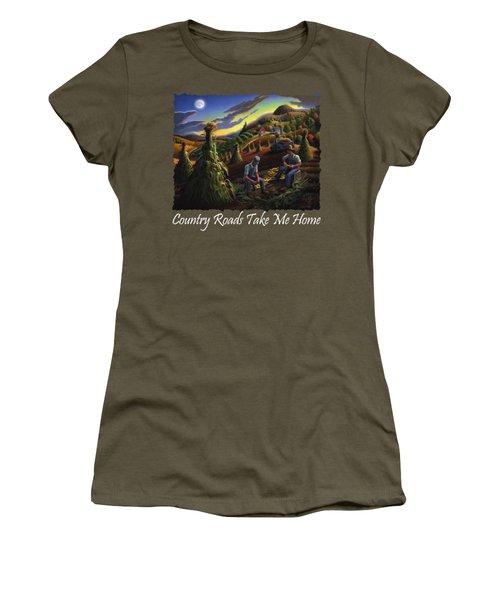 Country Roads Take Me Home T Shirt - Farmers Shucking Corn - Farm Landscape 2 Women's T-Shirt