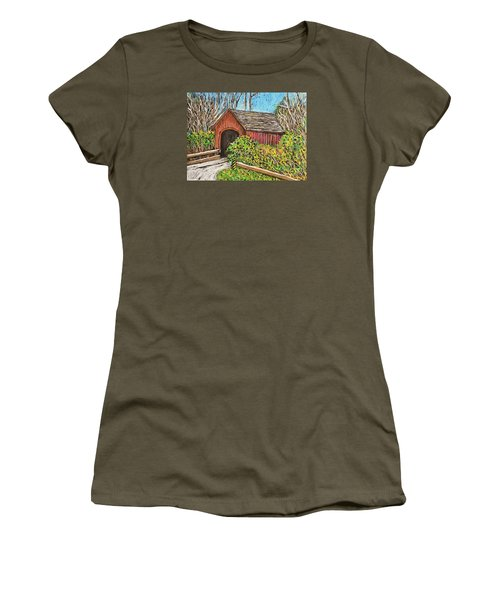 Covered Bridge Women's T-Shirt (Junior Cut) by Reb Frost