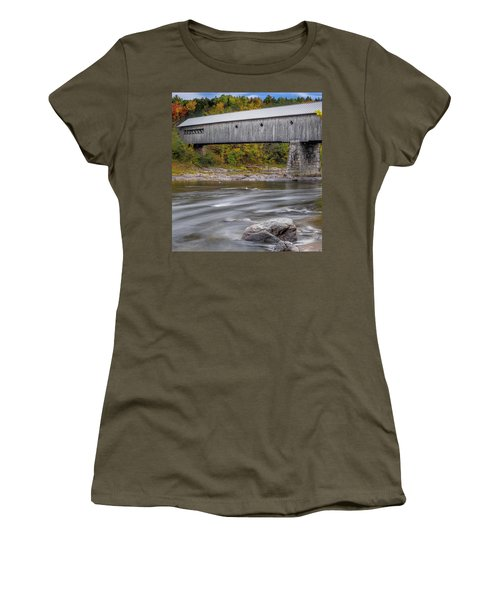 Covered Bridge In Vermont With Fall Foliage Women's T-Shirt