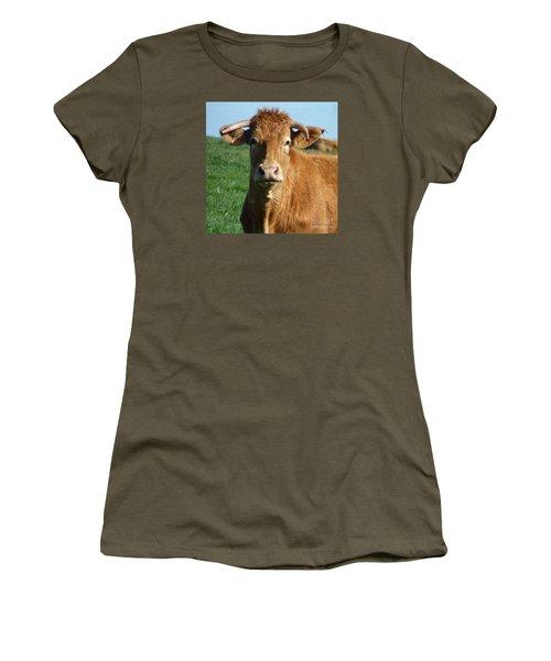 Cow Portrait Women's T-Shirt (Junior Cut) by Jean Bernard Roussilhe