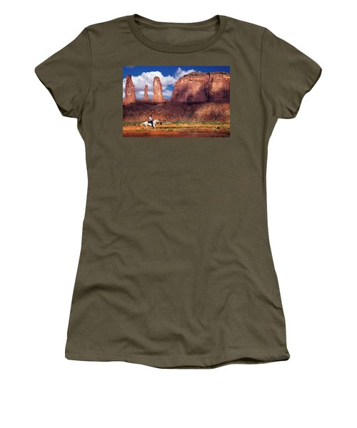 Women's T-Shirt (Junior Cut) featuring the photograph Cowboy And Three Sisters by William Lee