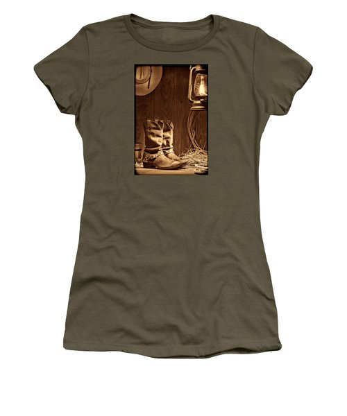 Cowboy Boots At The Ranch Women's T-Shirt (Junior Cut) by American West Legend By Olivier Le Queinec
