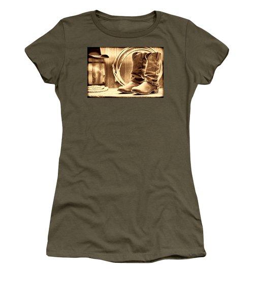 Cowboy Boots On The Deck Women's T-Shirt