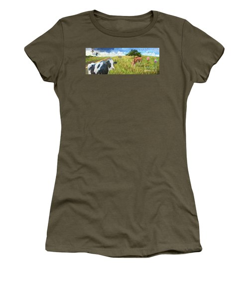 Cows In Field, Ver 2 Women's T-Shirt (Athletic Fit)
