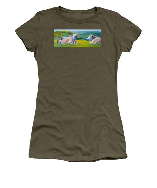 Cows Lying Down In Devon Hills Women's T-Shirt