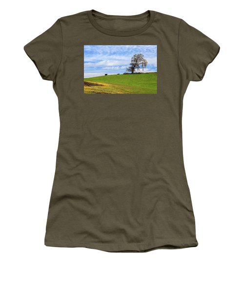 Women's T-Shirt (Athletic Fit) featuring the photograph Cows On A Spring Hill by James Eddy