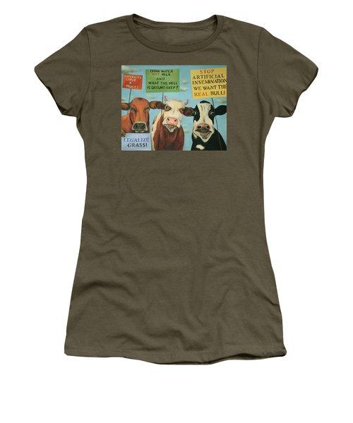 Cows On Strike Women's T-Shirt (Junior Cut) by Leah Saulnier The Painting Maniac