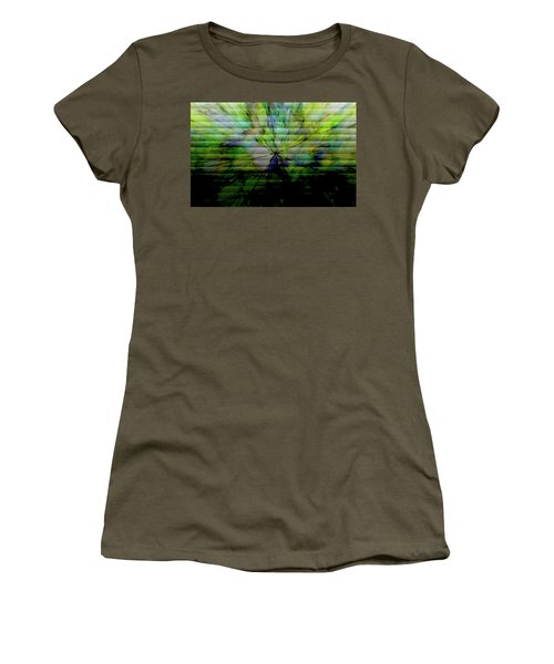 Cracked Abstract Green Women's T-Shirt (Junior Cut) by Carol Crisafi