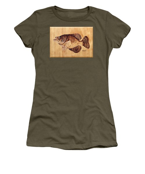 Women's T-Shirt (Junior Cut) featuring the pyrography Crappie by Ron Haist