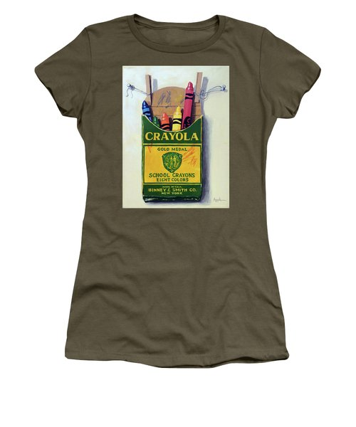 Women's T-Shirt (Junior Cut) featuring the painting Crayola Crayons Painting by Linda Apple