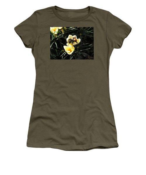 Women's T-Shirt featuring the photograph Crocus Gold by Rasma Bertz