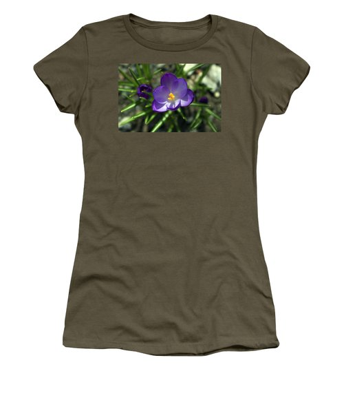 Women's T-Shirt (Junior Cut) featuring the photograph Crocus In Bloom #1 by Jeff Severson