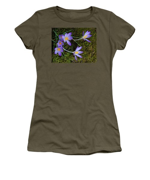 Women's T-Shirt (Athletic Fit) featuring the photograph Crocus Outreach by Roger Bester