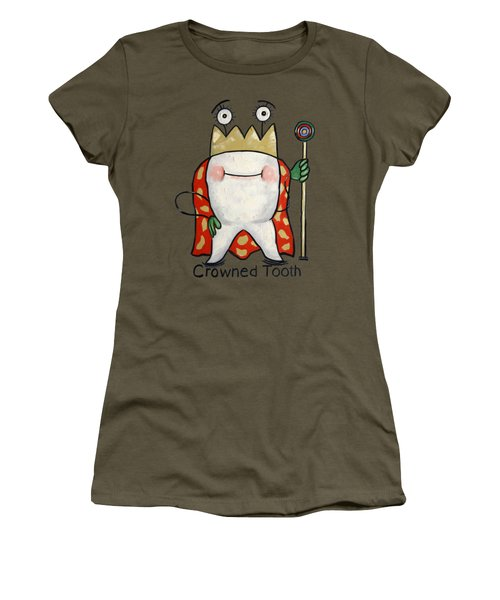 Women's T-Shirt featuring the painting Crowned Tooth T-shirt Anthony Falbo by Anthony Falbo