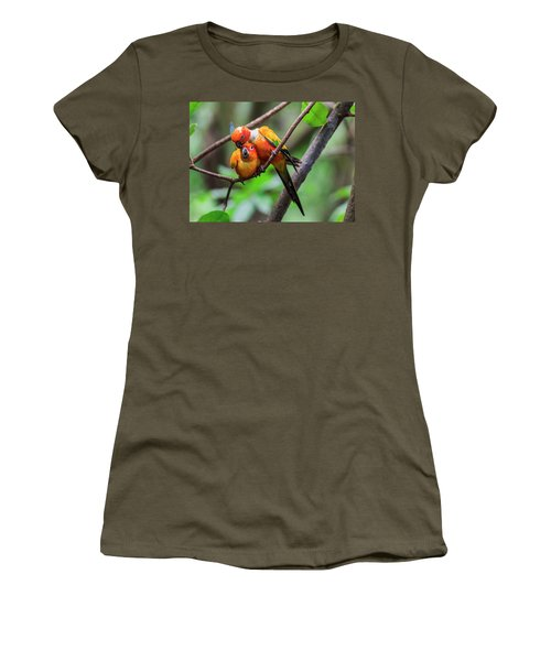 Women's T-Shirt featuring the photograph Cuddling Parrots by Pradeep Raja Prints