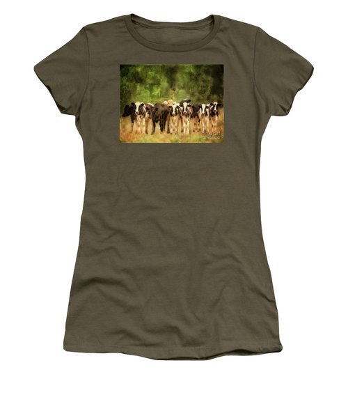 Women's T-Shirt (Athletic Fit) featuring the digital art Curious Cows by Lois Bryan