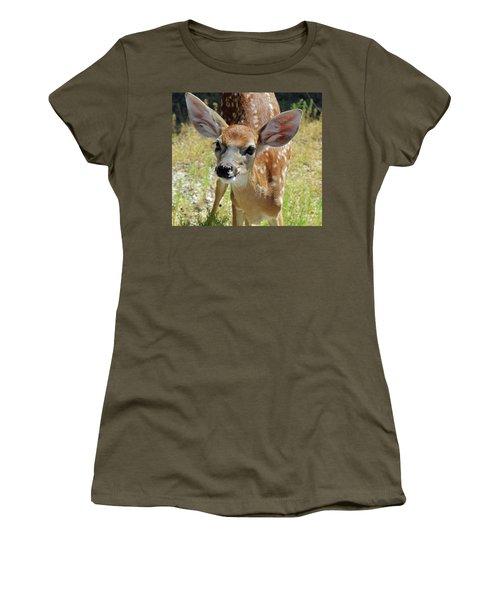 Curious Fawn Women's T-Shirt (Junior Cut) by Inspirational Photo Creations Audrey Woods