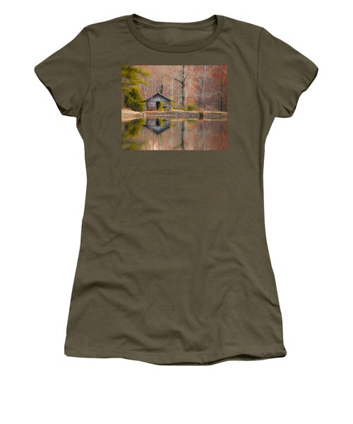 Custom Crop - Cabin By The Lake Women's T-Shirt (Junior Cut) by Shelby  Young