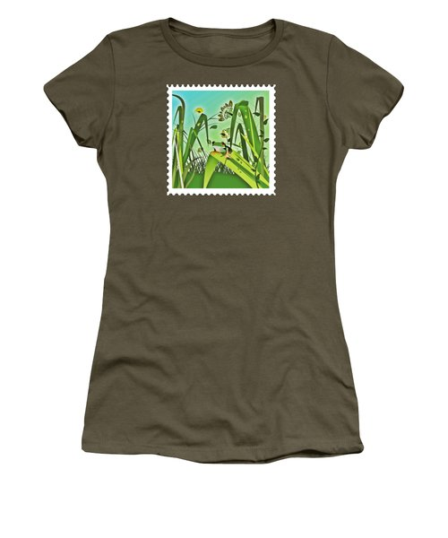 Cute Frog Camouflaged In The Garden Jungle Women's T-Shirt (Junior Cut) by Elaine Plesser