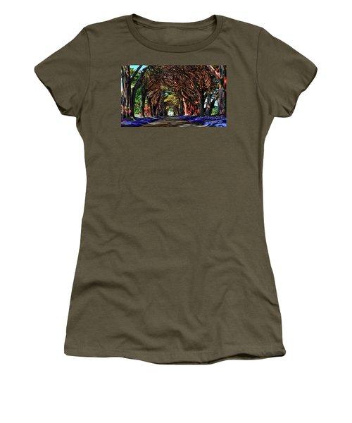 Women's T-Shirt (Junior Cut) featuring the digital art Cypress Tree Tunnel by Jason Abando