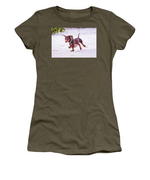 Dachshund On Beach Women's T-Shirt (Junior Cut) by Stephanie Hayes