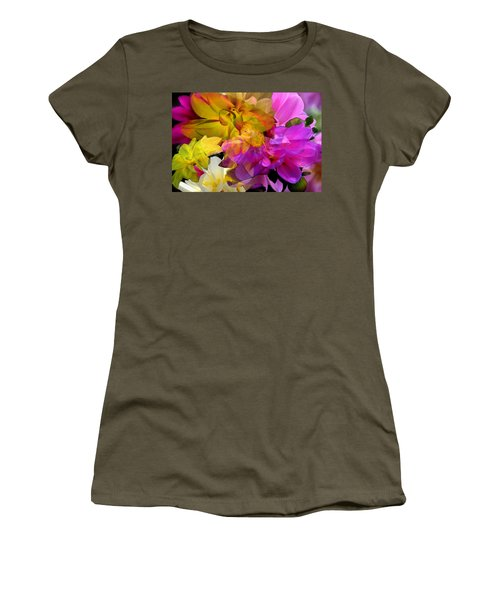 Women's T-Shirt (Athletic Fit) featuring the digital art Dahlia Fantasy by Hanne Lore Koehler