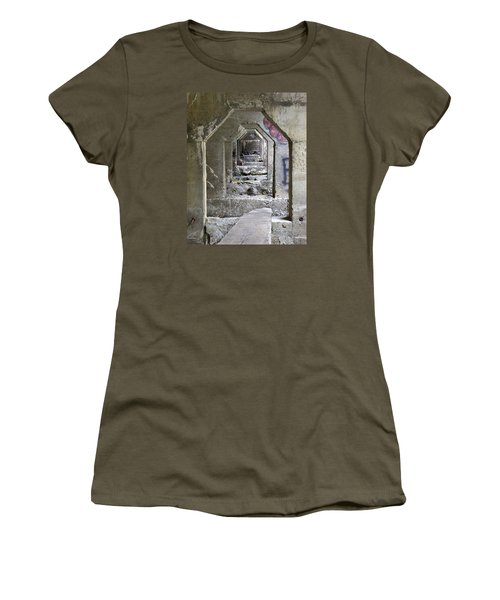 Women's T-Shirt (Junior Cut) featuring the photograph Dam Above Garwin Falls, Wilton, Nh by Betty Denise
