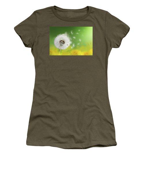 Women's T-Shirt (Junior Cut) featuring the photograph Dandelion Clock In Morning by Bess Hamiti