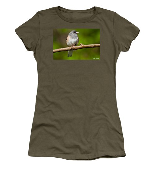 Dark Eyed Junco Perched On A Branch Women's T-Shirt