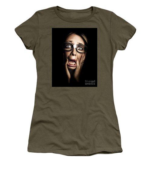 Dark Face Of Business Woman Under Stress And Fear Women's T-Shirt