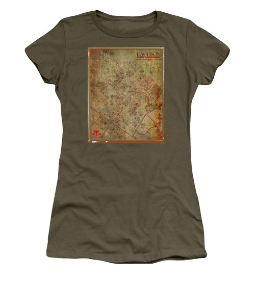Davidson College Map Women's T-Shirt (Junior Cut) by Paulette B Wright