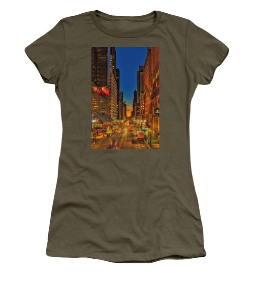 Women's T-Shirt (Athletic Fit) featuring the photograph Dawn At 42nd Street Nyc by Susan Candelario